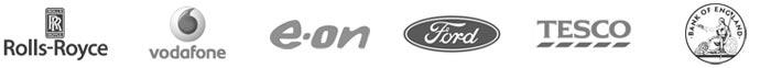 Galsys liste de clients partielle, Rolls-Royce, Vodaphone, EON, Ford, Tesco, la Banque d'Angleterre